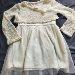 girl 4/5 dress Ivory with gold shimmer tutu bottom